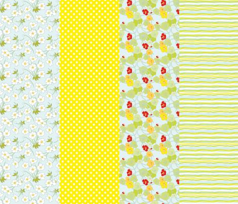 Japanese Anenomes and Nasturtium Sampler fabric by anntuck on Spoonflower - custom fabric