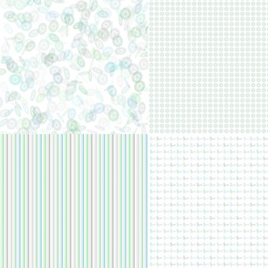 Fat Quarters Pastel Flowerbirds Quad
