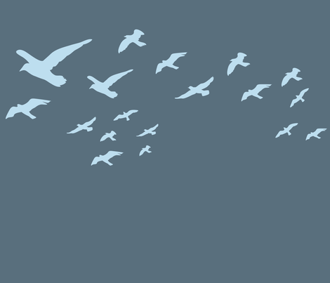 Flying seagulls fabric by needlebook on Spoonflower - custom fabric