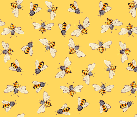 Bees Sunny Yellow - More for Anna fabric by anntuck on Spoonflower - custom fabric