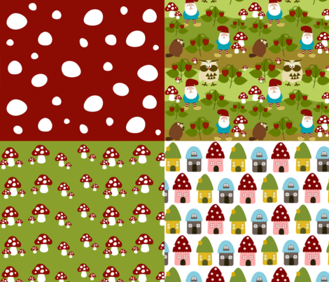 Gnome Patch Coordinates fabric by mayabella on Spoonflower - custom fabric