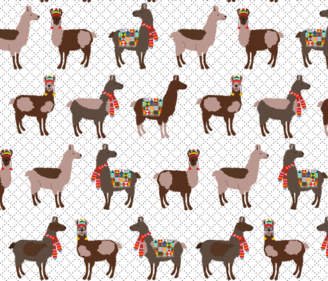 Oh la llama fabric lauriewisbrun spoonflower for Patterned material for sale