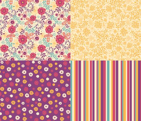 Secret Garden - Four Fabric Coordinates fabric by oksancia on Spoonflower - custom fabric