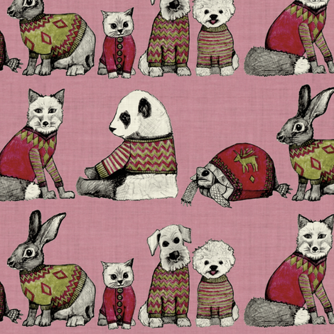 vintage chums pink small fabric by scrummy on Spoonflower - custom fabric