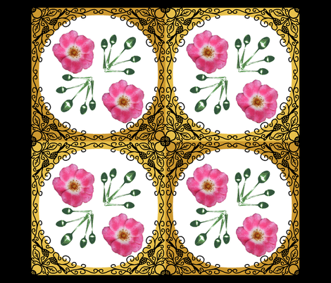 Ironwork bordered_rose_pillow_panel_ fabric by khowardquilts on Spoonflower - custom fabric