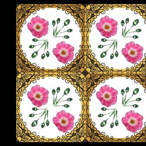 Ironwork bordered_rose_pillow_panel_