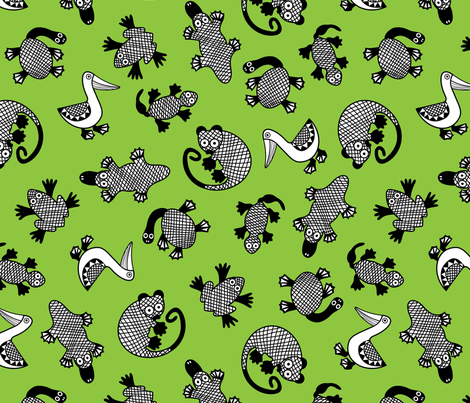 OzAnimalsGREEN fabric by yellowstudio on Spoonflower - custom fabric