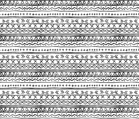 Chalk Tribal Stripe (White) fabric by leanne on Spoonflower - custom fabric