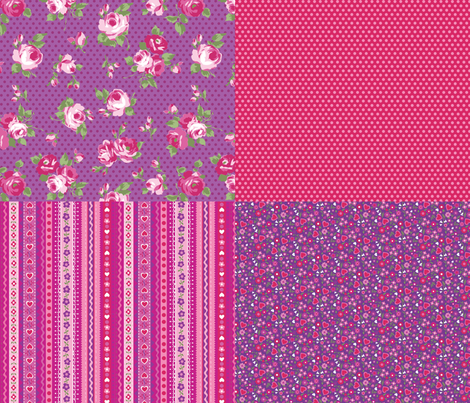 hearts and roses coordinates fabric by minimiel on Spoonflower - custom fabric