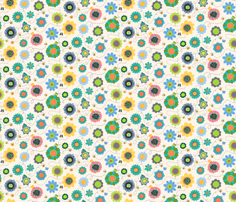 Allover Sweetie Pie flowers and bees fabric by beebumble on Spoonflower - custom fabric