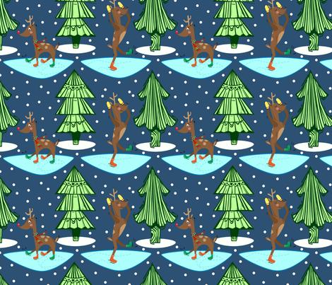 Skating Reindeer fabric by gsonge on Spoonflower - custom fabric
