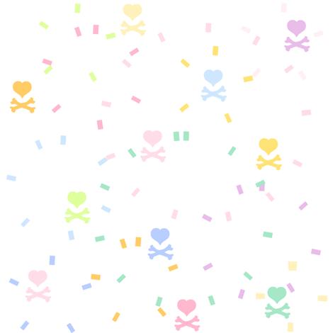 Rainbow Pastel - Confetti Heartskulls  -  © PinkSodaPop 4ComputerHeaven.com fabric by pinksodapop on Spoonflower - custom fabric