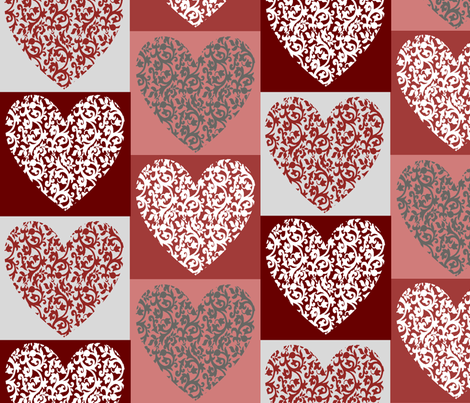 Damask Hearts fabric by lowa84 on Spoonflower - custom fabric