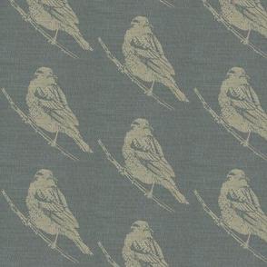 Blackbirds on Blue Burlap