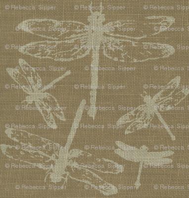 Dragonflies on Brown Burlap