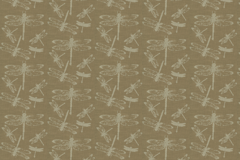 Dragonflies on Brown Burlap fabric by retrofiedshop on Spoonflower - custom fabric