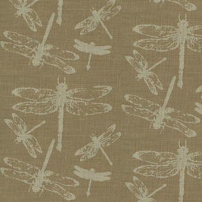 Dragonflies on Brown Burlap