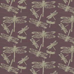 Dragonflies on Purple Burlap