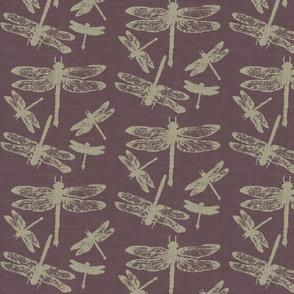 Dragonflies on Purple Burlap
