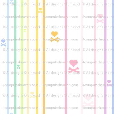 Rainbow Pastel - Thinstriped Heartskulls -  © PinkSodaPop 4ComputerHeaven.com