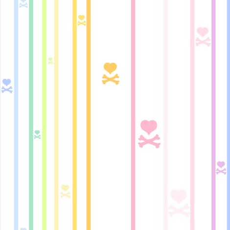 Rainbow Pastel - Thinstriped Heartskulls -  © PinkSodaPop 4ComputerHeaven.com fabric by pinksodapop on Spoonflower - custom fabric