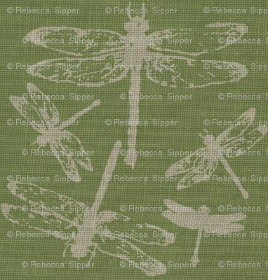 Dragonflies on Green Burlap