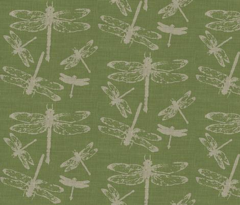 Dragonflies on Green Burlap fabric by retrofiedshop on Spoonflower - custom fabric