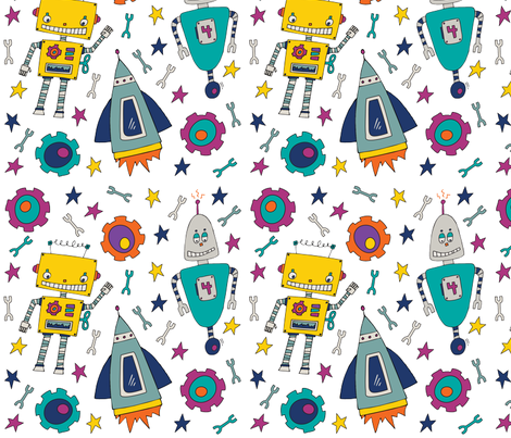 Rockets, Sprockets & Robots fabric by mamakerribell on Spoonflower - custom fabric
