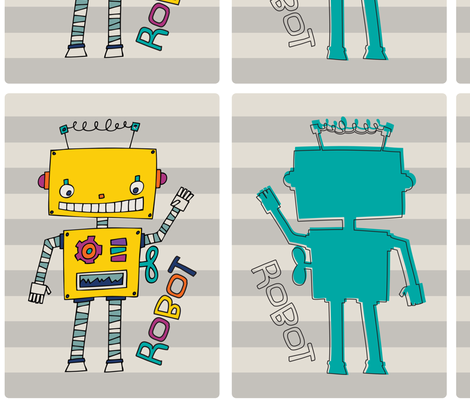 Robot Pillow Panel fabric by mamakerribell on Spoonflower - custom fabric