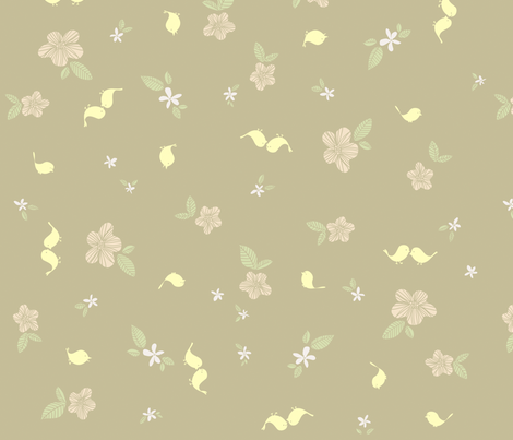 Birds and Flowers fabric by sheena_hisiro on Spoonflower - custom fabric
