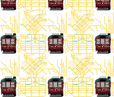 Tram Map Small fabric by upcyclepatch on Spoonflower - custom fabric