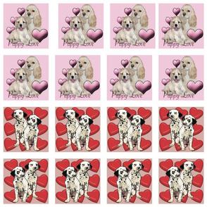 Puppy Love Valentines day quilt squares