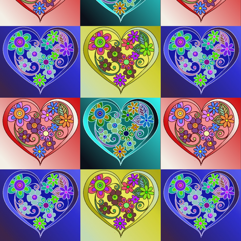 four_heart_with_flowers fabric by vinkeli on Spoonflower - custom fabric