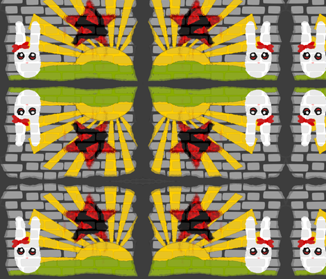Commie Bunny Graffiti fabric by ninjaauntsdesigns on Spoonflower - custom fabric