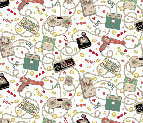 Favourite Game Retro White fabric by teja_jamilla on Spoonflower - custom fabric