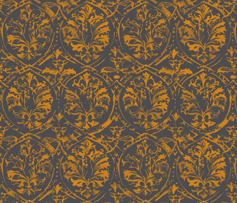 deer_damaskBRONZE fabric by pattern_state on Spoonflower - custom fabric