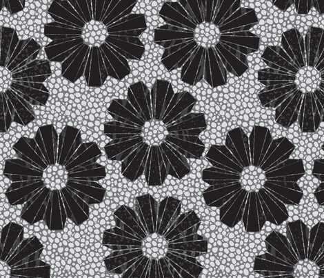 art deco floral on shagreen 4 color fabric by glimmericks on Spoonflower - custom fabric