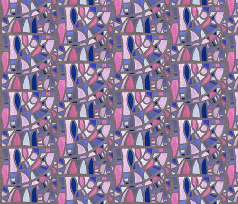 Gaudy Gaudi pinks and blues vertical 2 by Su_G fabric by su_g on Spoonflower - custom fabric