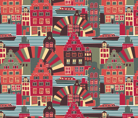 Amsterdam, my love ! fabric by demigoutte on Spoonflower - custom fabric