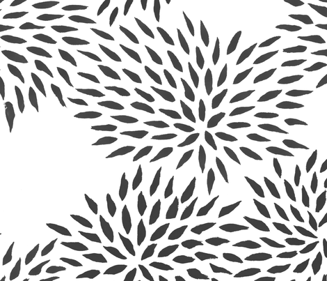 Summer Mums in charcoal fabric by domesticate on Spoonflower - custom fabric