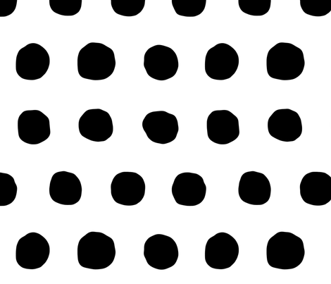 Jumbo Dots in black dots on white fabric by domesticate on Spoonflower - custom fabric