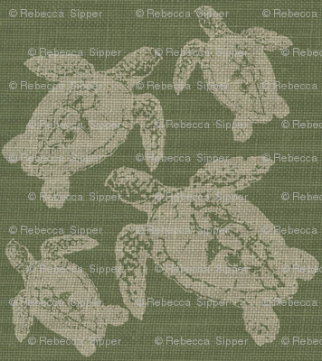Lagerhead Turtles on Green Burlap