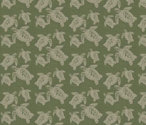 Lagerhead Turtles on Green Burlap fabric by retrofiedshop on Spoonflower - custom fabric