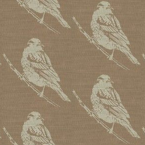 Red Winged Black Bird on Brown Burlap