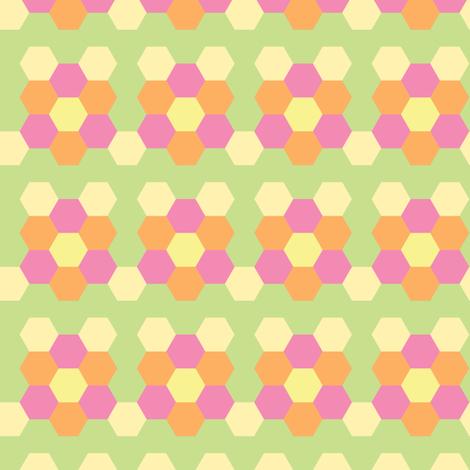 Spring Hexagonal - Light fabric by owlandchickadee on Spoonflower - custom fabric
