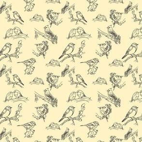Bird toile (black and cream)