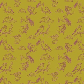 Bird toile (olive and purple)