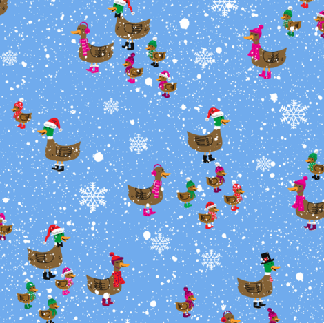 Winter Ducks Snowy Day fabric by sheena_hisiro on Spoonflower - custom fabric