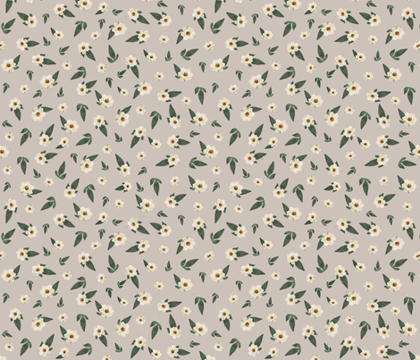 Ditsy Magnolias on Grey fabric by jabiroo on Spoonflower - custom fabric