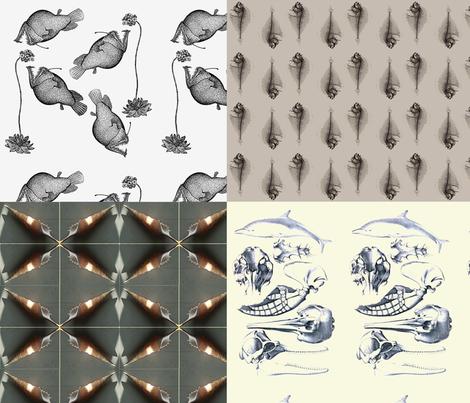 Foursquare, fish bones fabric by nalo_hopkinson on Spoonflower - custom fabric